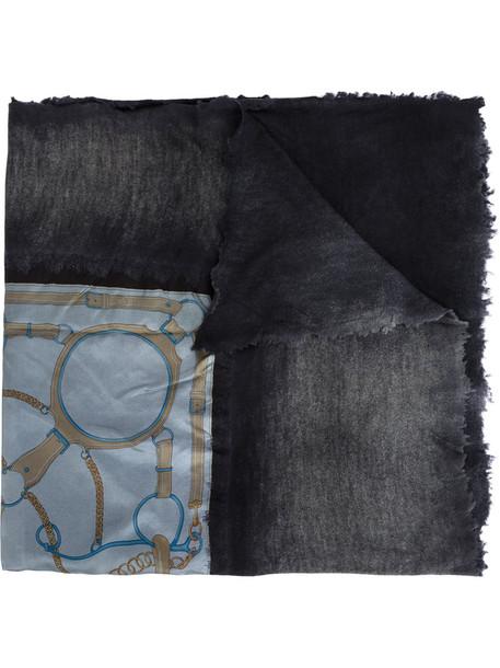 printed scarf women scarf silk grey