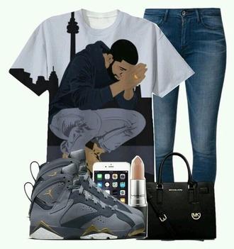 shirt black and white drake drake clothing drake t-shirt dope 6god
