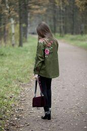 jacket,tumblr,army green jacket,embroidered,embroidered jacket,jeans,blue jeans,bag,burgundy,velvet,high heels,black heels