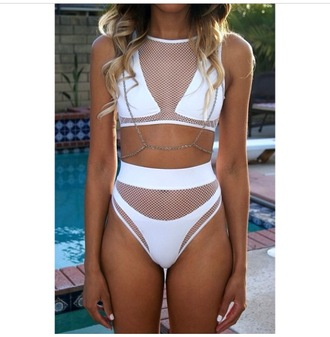 swimwear bikini white fishnet jewels