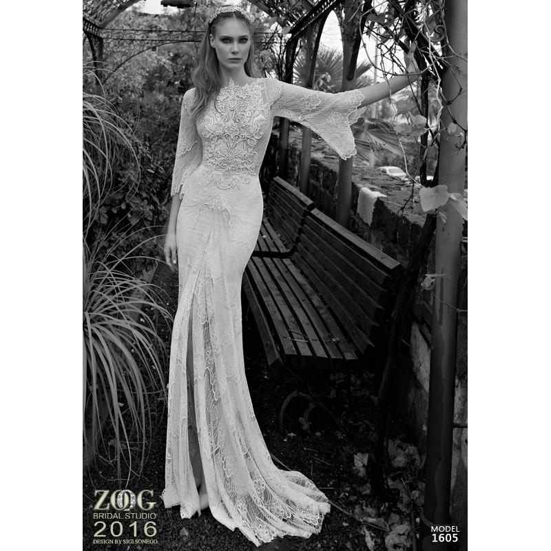 16051 (Zoog Studio) 2016 16051 Sirena Barco Largo Con mangas - Vestidos de novia 2018   Vestidos de novia barato a precios asequibles   Eventos En oferta