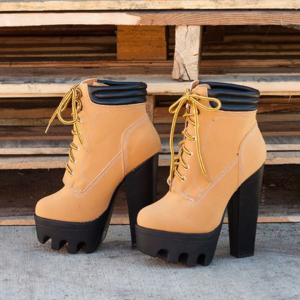5b9fcbf1871 shoes brown boot heels cleated sole platform shoes timberlands chunky sole  chunky heel boots timberland heels