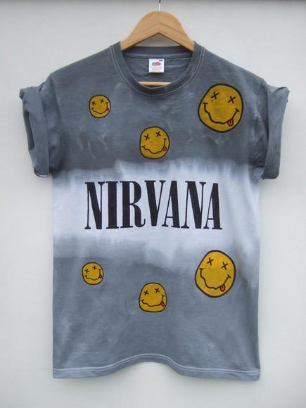nirvana t-shirt nirvana t-shirt tie dye shirt tie dye nirvana shirt grunge tie dye nirvana t shirt grey band t-shirt