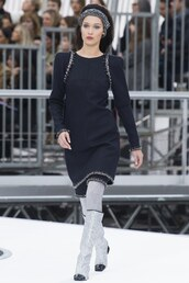 dress,bella hadid,model,runway,fashion week 2017,Paris Fashion Week 2017,chanel