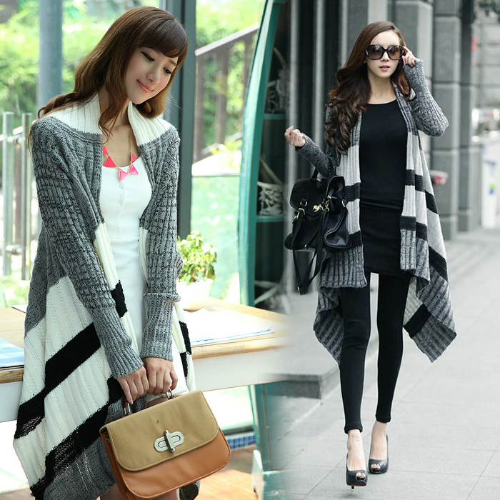 Aliexpress.com : Buy winter thickening thermal long design irregular color block decoration stripe fashion sweater outerwear from Reliable sweater fashion suppliers on Umila Store.