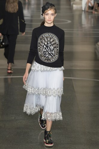 skirt sweater christopher kane london fashion week 2016 midi skirt ruffle