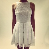 dress,lace,white,summer,summer dress,beautiful,cream,embroidered,short,high neck,clothes,lace dress,boho chic,celebrity style