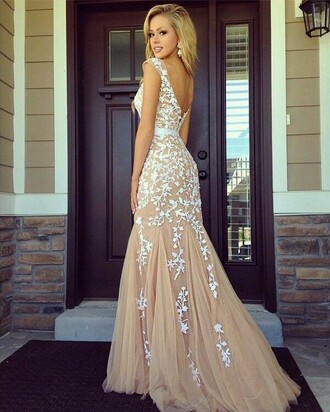 dress prom dress nude dress lace dress white lace prom prom gown