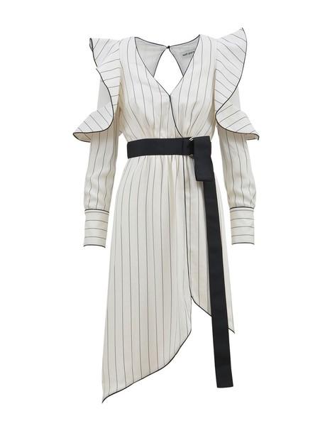 self-portrait dress wrap dress monochrome white black