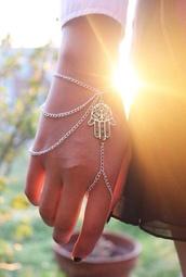jewels,hippie,boho,bracelets,bracelet chains,ring,jewelry bracelets,hamsa hand,accessories,hamsa,ring bracelet,hipster,top,jewelry,hair accessory,style
