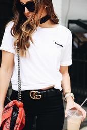 t-shirt,blogger,blogger style,belt,white t-shirt,gucci belt,black skinny jeans,silk scarf