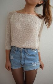sweater,gold,shimmer,beige,shoes,mexico,shorts,sequins,sequin sweater,cream,cream sweater,High waisted shorts,studs,tights,studded shorts,sequin shirt,blouse,sweater light cute summer shirts stud,shirt,shorts????,demin shorts,bright crop tops,cool girl style,creme,denim shorts,acid wash,high waisted