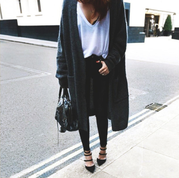 Cardigan: blogger, pumps, shoes, bag, oversized cardigan, dark ...