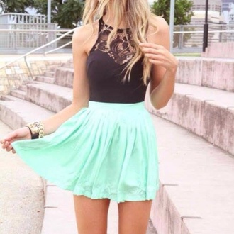 skirt the same exact as the picture tank top dress black skater dress aqua teal mint skirt black black top black blouse floral lace top off the shoulder