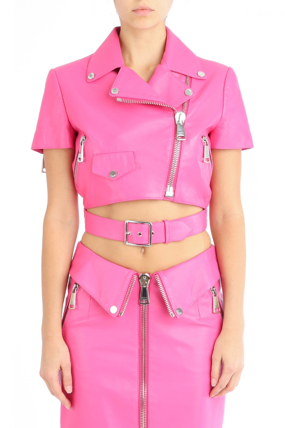 "Muchskino ""i'm a barbie girl"" barbarella cropped biker jacket (2 color – glamzelle"