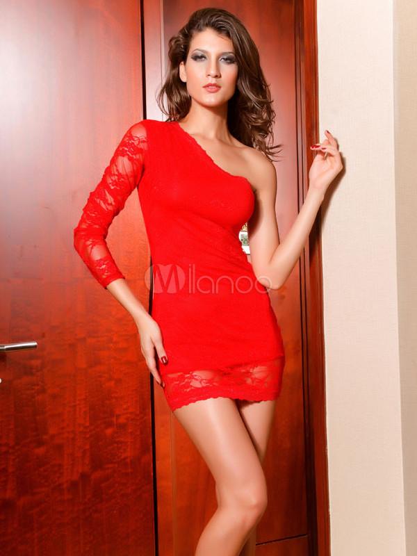 7956c022a4e Beautiful Red One-Shoulder Lace Womens Club Dress - Milanoo.com