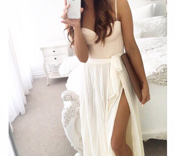 skirt blouse dress prom homecomig white dress prom dress long dress long prom dress girly dress top bustier cropped dressy light pink bustier dress nude bustier summer outfit crop tops fashion chiffon skirt blogger white skirt lazy day style weheartit silk maxi skirt slit maxi skirt