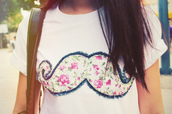 moustache,flowers,vintage,shirt,girl,white,pink,beautiful,floral,white t-shirt,bag