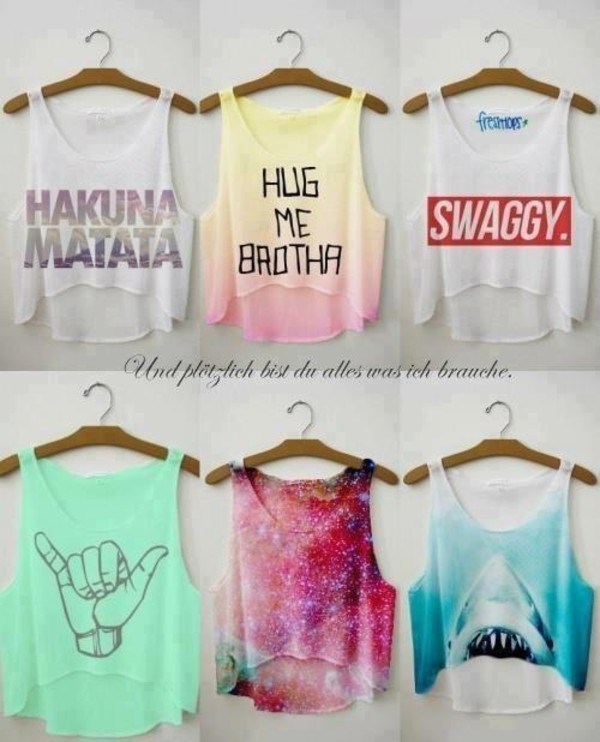 t-shirt tank top shirt summer summer shirt crop tops hipster cool shirts the t-shirt hakuna matata shark crop top blouse hug me brotha and swaggy top debardeur swag été cool galaxy print bro swag galaxy print graphic tank top grey tank top yellow swagg t shirt