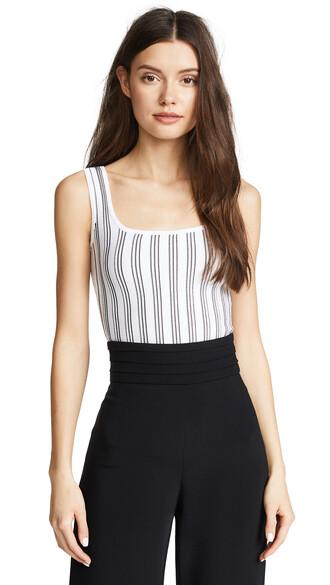 knit white black top