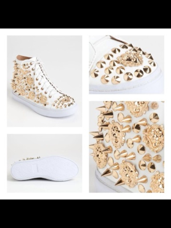 shoes giuseppe zanotti sneakers gold white rhinestones