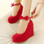 Fashion Round Closed Toe Super High Wedges Red Suede Ankle Strap Pumps_Pumps_Womens Shoes_Cheap Clothes,Cheap Shoes Online,Wholesale Shoes,Clothing On lovelywholesale.com - LovelyWholesale.com