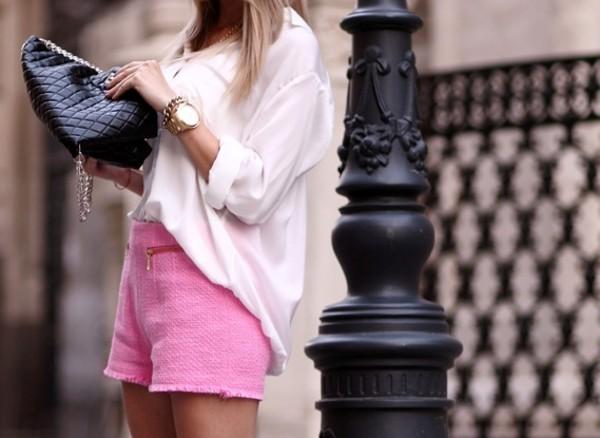 shorts pink tweed High waisted shorts zip pockets