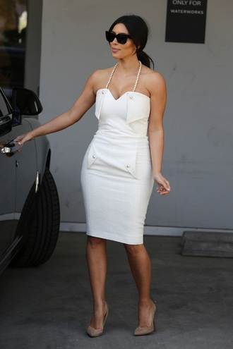 dress white dress kim kardashian dress