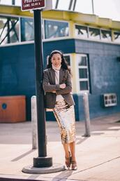 hallie daily,blogger,jacket,sweater,skirt,shoes,sequin skirt,fall outfits,blazer