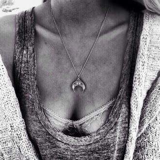 jewels necklace halfmoonnecklace summer moon bohemian