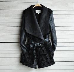 Online Shop New 2014 European and American Fashion Winter Fur Coat Women Slim Outerwear Long sleeve PU Leather Jackets Women Black AD09|Aliexpress Mobile