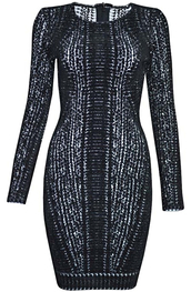 dress,dream it wear it,clothes,long sleeves,long sleeve dress,bodycon,bodycon dress,bandage,bandage dress,party,party dress,sexy party dresses,sexy,sexy dress,party outfits,winter outfits,winter dress,fall outfits,fall dress,classy,classy dress,elegant,elegant dress,cocktail,cocktail dress,girly,date outfit,monochrome,monochrome dress,black and white,texture