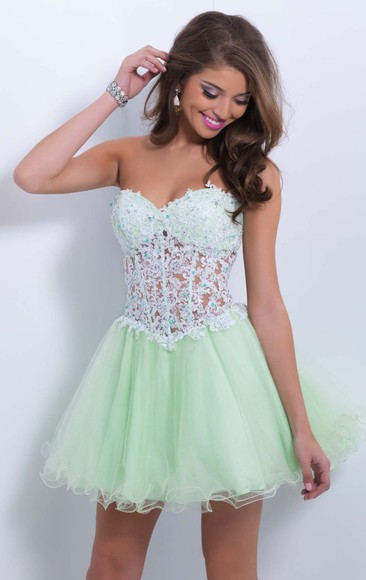sheer 322 a-line princess sweetheart homecoming dress homecoming dress organza prom short gown women girl custom dress light green