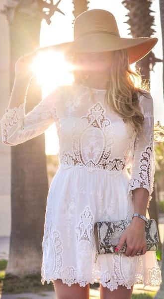 dress sundress white dress lace dress long sleeve dress short dress