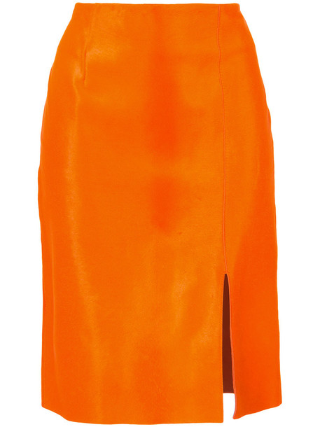 Dvf Diane Von Furstenberg - Fitted calf hair pencil skirt - women - Sheep Skin/Shearling - S, Yellow/Orange, Sheep Skin/Shearling