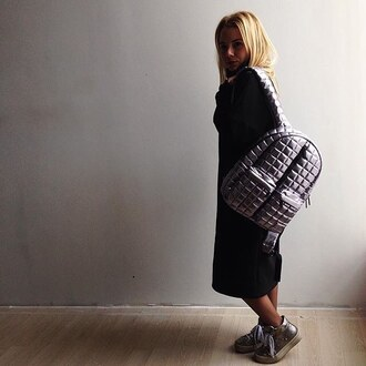 bag silver bag silver backpack quilted quilted backpack quilted bag style streetstyle streetwear black robe robe coat fusion shoes sdad