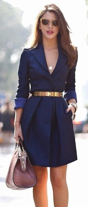 dress,blue,wrap,overcoat,elegant,classy,gold belt,lapels,navy