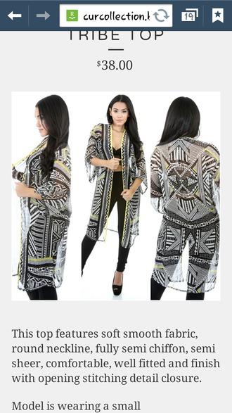 blouse tribal kimono black and white chiffon sheer kimono long kimono