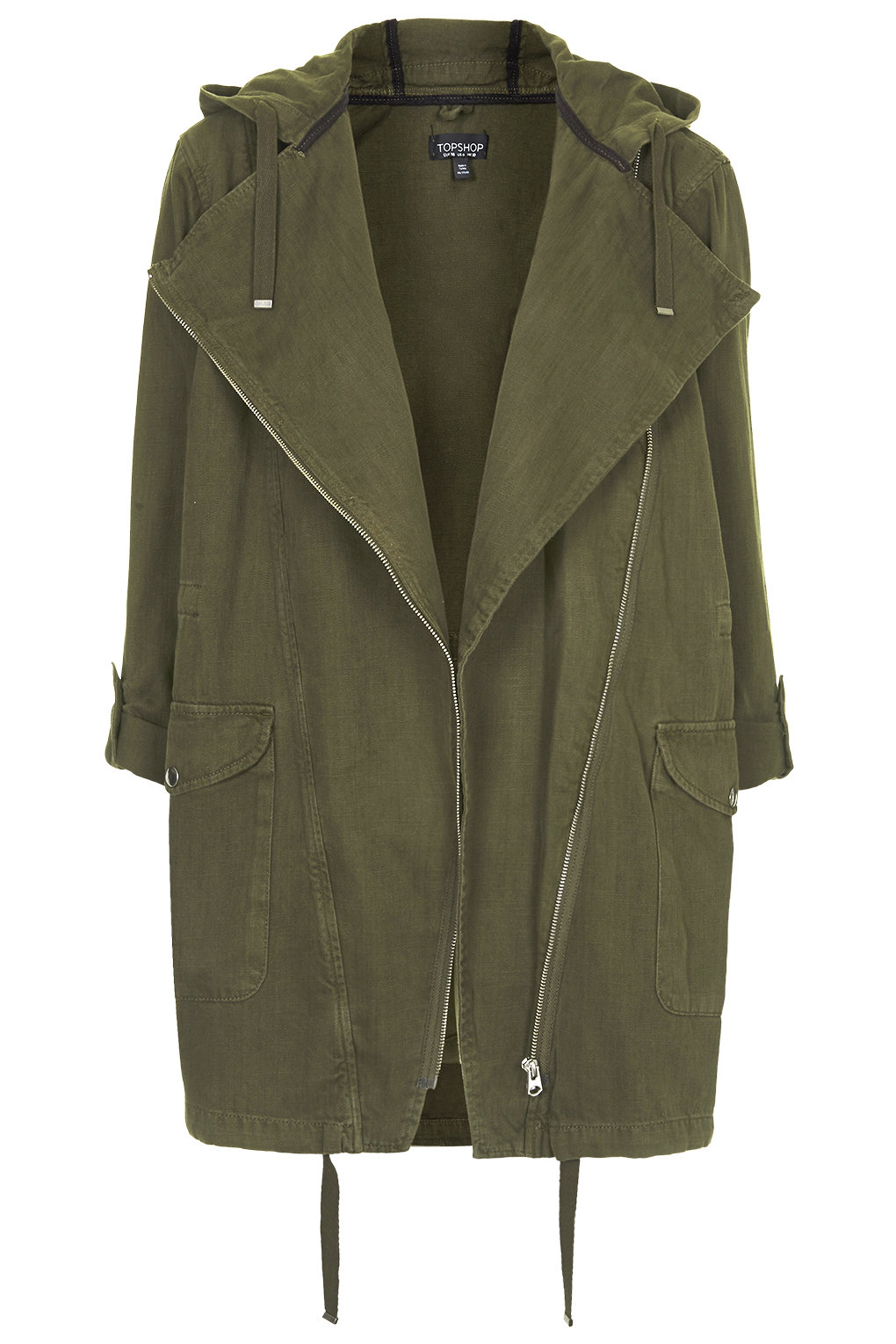 Waterfall front parka jacket