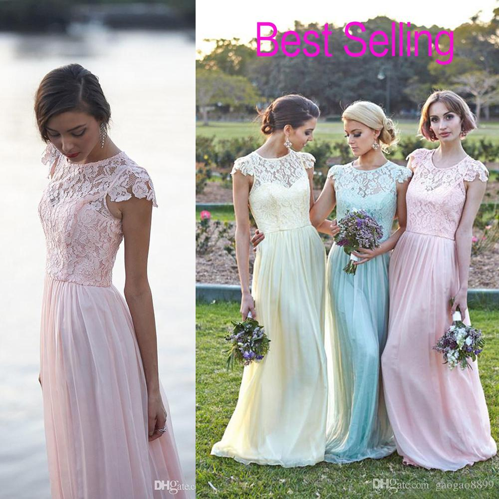 Lace Chiffon Maid of Honor Dresses Real Image Plus Size Cap Sleeve ...
