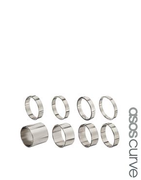ASOS Curve | ASOS CURVE - Lot de 8 bagues lisses chez ASOS