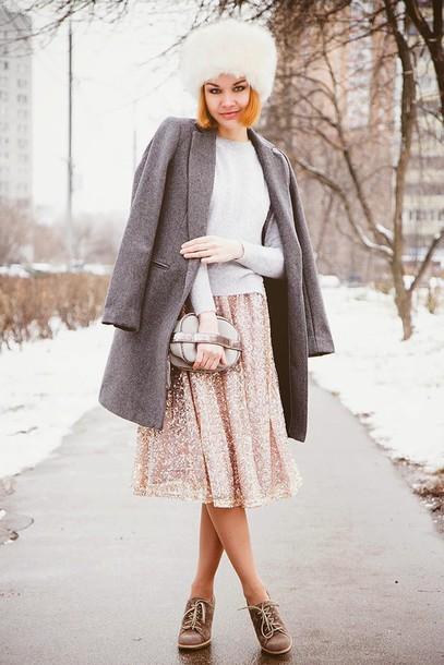 gvozdishe blogger coat sweater skirt hat bag shoes