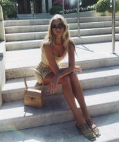 dress,elsa hosk,model off-duty,instagram,summer outfits,summer dress,mini dress,flat sandals,sandals
