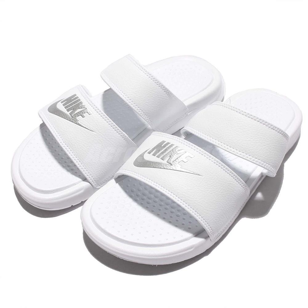 436702a1224b Wmns Nike Benassi Duo Ultra Slide Womens Triple White Sandal Slippers  819717-100