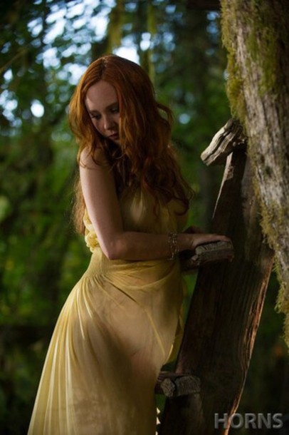dress horns the movie merrin williams flowy yellow dress juno temple daniel radcliffe sheer