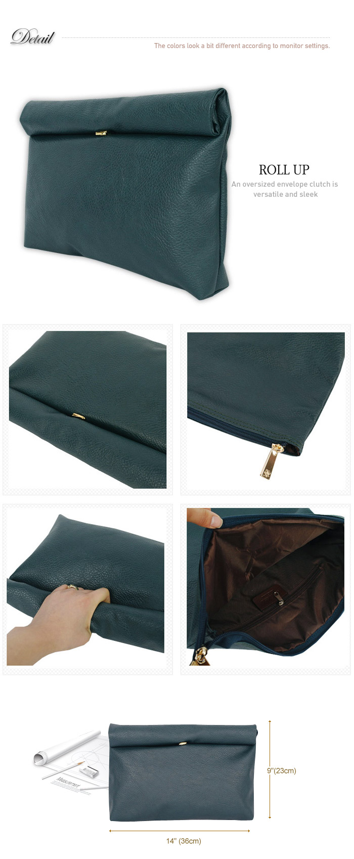 Style2030 New Korea Oversized Envelope Roll Up Clutch Shoulder Bags B1248 | eBay