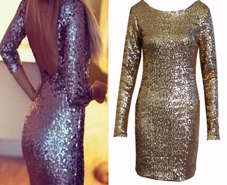 Shining back sequins cute dress