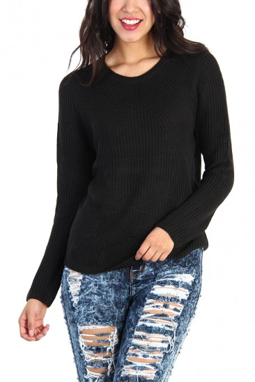 OMG KNIT COTTON SWEATER - Black