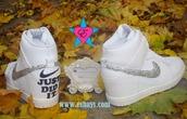 shoes,rhinestone nike shoes,just did wedding shoes,white snakeskin croc nike sky hi dunks,wedding sneakers,prom shoes,white nike dunks sky hi