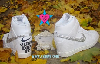 shoes rhinestone nike shoes just did wedding shoes white snakeskin croc nike sky hi dunks wedding sneakers prom shoes white nike dunks sky hi